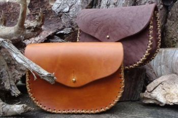 Leather extra large gussted pouches hand stitched by the beaver bushcraft