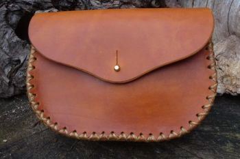 leather saddle tan natural leather extra large belt pouch made by beaver bu