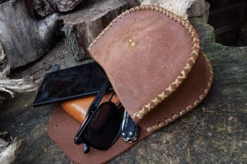 Leather large belt pouch hand stitched in nubuck leather with contents made