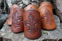 Handmade Leather Scout Woggle - 'Fleur-De-Lis' - Old School Style