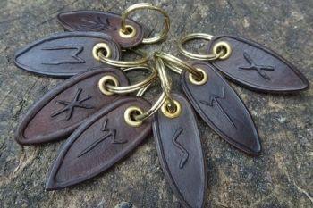 Leather viking keys ring runes in dark brown by beaver bushcraft