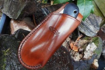 Leather mini saw and sheath made by beaver bushcraft