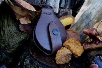 Leather Solar Pendant (Wallet Style) Leather Thonging - Hand Stitched - READY MADE