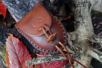 BESPOKE - Hudson Bay Belt Pouch -  Cross Stitched - Leather Toggle & Acorn Motif - Light Brown (45-5084)