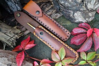 Leather & Fire pocket bellows fire storm sheaths hand stitched by beaver bu