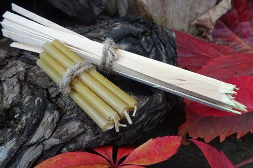 Long Wooden Sulphur Spill Matches & Mini Tapered Bees Wax Candles - Tinderb