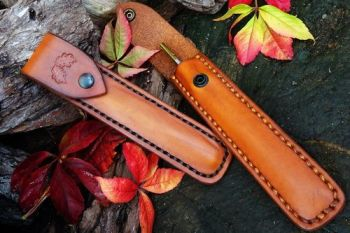 leather and fire acron leather sheaths for pocket bellows by beaver bushcra