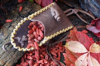 leather vintage nubuck leather pouch with berries for beaver bushcraft