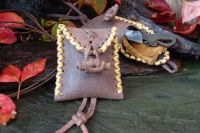 Vintage Nubuck Hand Crossed Stitched 'Medicine' Style Mini Pouch -  Leather Toggle + Thonging Detail
