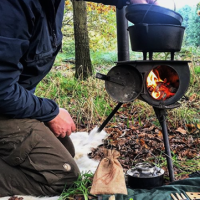 Vimark with his beaver bushcraft fire lighing kit for his fire stove