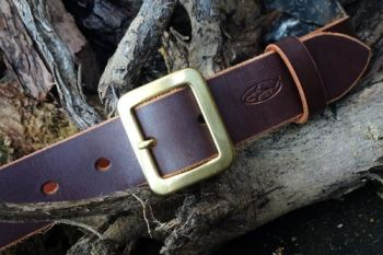 Handmade Classic Leather Belt + Full Brass Buckle - Ready Made