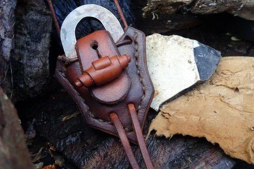 Leather & Fire Steel Pendant with Traditional 'Flint & Steel' Oval Striker