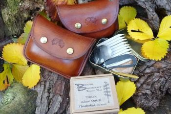 Leather hand tooled acorn motif with tinderboxes all by beaver bushcraft