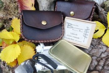 Leather pouches with our tinderboxes all made by beaver bushcraft