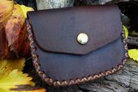 Hand Stitched Leather 2oz Tin Gusseted Outdoors Belt Pouch - Walnut Brown