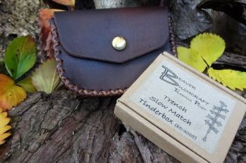 leather gussetted outdoor belt pouch with trench slow match tinderbox all m