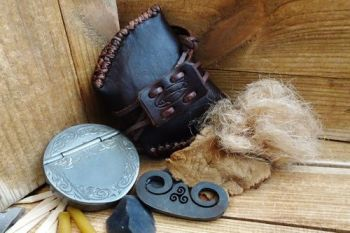 Vintage tinderbox and tinder pouch by beaver bushcraft