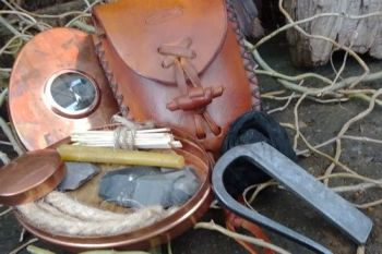 Vintage tinderbox with pouch with natural patina all made by beaver bushcra