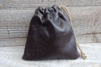 leather mini pouch made in ultra soft dark brown glove leather
