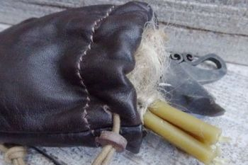 Leather mini soft dark brown tinder pouch by beaver bushcraft