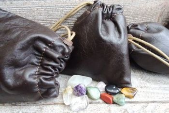Leather soft brown mini pouch for beaver bushcraft with crytals