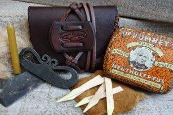 Vintage tinderbox with mini hand stitched custom made pouch by beaver bushc