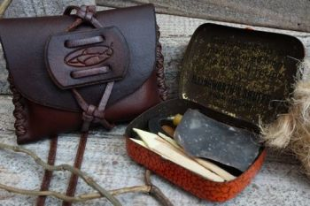 Vintage mini tinderbox with hand stitched tobacoo tin pouch by beaver bushc