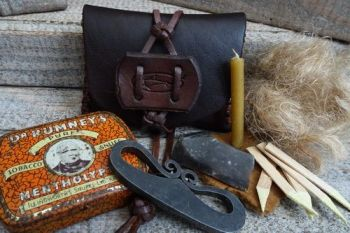 Vintage tinder pouch with tinder kit and flint & steel by beaver bushcraft