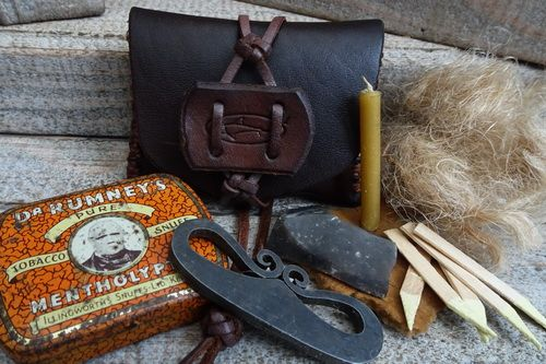 Vintage 'Snuff Box' Tinderbox - Custom Made Leather Tobacco Pouch - Limited