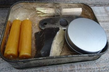 Vintage old timers tinderbox packed with beaver bushcraft tinders