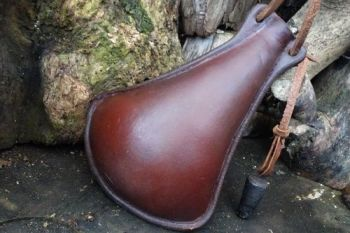 Leather bottle medium viking style imperfect by beaver bushcraft