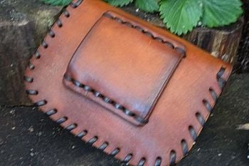 leather veiw of back belt slider on belt pouch by beaver bushcraft