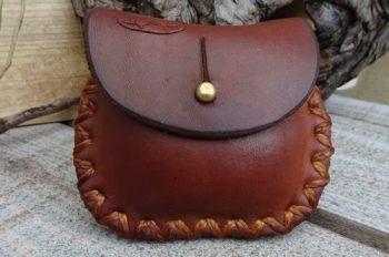 leather mini hard leather coin pouch in hazel brown hand stitched by beaver