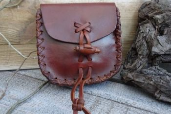 Leather boho pouch by beaver bushcraft