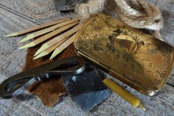 Vintage engraved brass tinderbox with full fire lighting kit by beaver bush