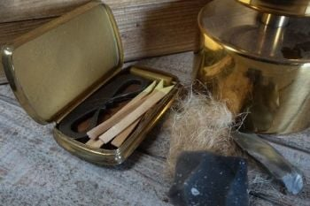 Vintage brass engraved tinder box for beaver bushcraft