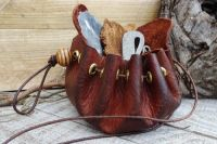 Leather Old 'Merchant' Style Belt Pouch - Hand Dyed
