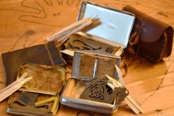 Bill Meads collcetion of beaver bushcraft tinderboxes