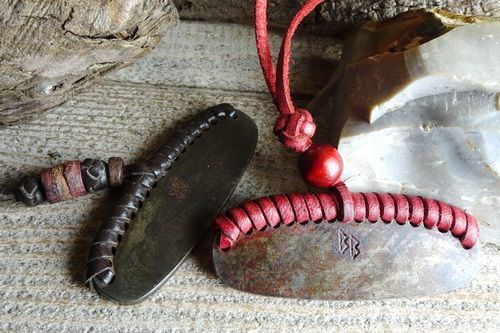 Leather Laced & Beaded Flint & Steel Fire Striker - REDUCED