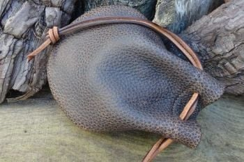 Leather textured dark brown tinder pouch by beaver bushcraft