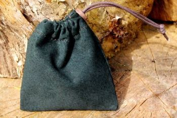 Leather soft pigskin green pouch for beaver bushcraft