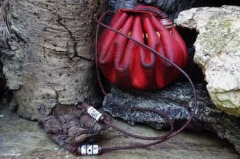Leather red dragon skin merchant pouch handyed by beaver bushcarft