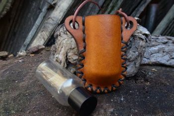 Leather bottle neck holder with mini bottler by beaver bushcraft