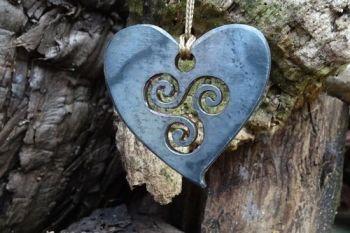 fire steel by beaver bushcraft of triskele heart pendant