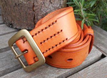 leather-306 belt saddle tan new stitching