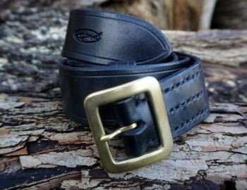 Leather-306 belt hand stitched by shark designs leather in black for beaver