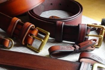 Leather 801 belts hand stitched and hand dyed by beaver bushcraft