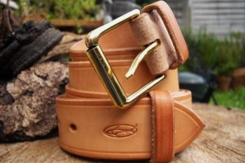 leather 911 hand stitched belt in blonde by beaver bushcraft