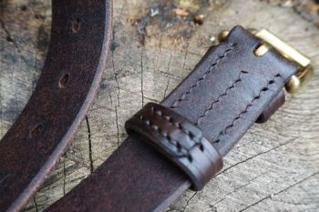 Leather 911 hand stitched tough outdoor belt by beaver bushcraft