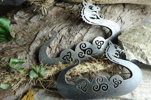 Viking Humpback Dragon with Celtic Knots - Traditional 'Flint & Steel' Fire